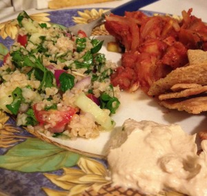 Tabouleh & Tourlou, with a side of Trader Joe's Hummus and Pita Chips!