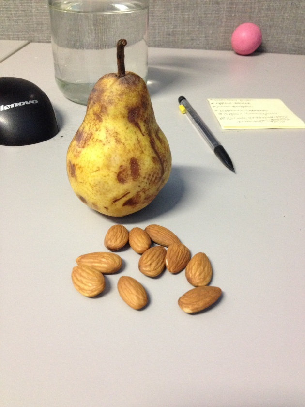1 pear (I like my fruit super ripe hehe) and 20 almonds or so (I ate some before I took this pic).