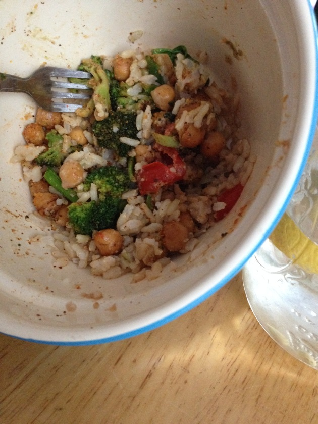 Again, I started to eat my dinner before taking this I was so hungry after work! It's a huge bowl of 1 cup brown rice, 1 small sweet potato, 2 cups roasted broccoli, 1/2 cup roasted chick peas topped with tahini, 4 peppadews, balsamic drizzle, and nurtitional yeast.